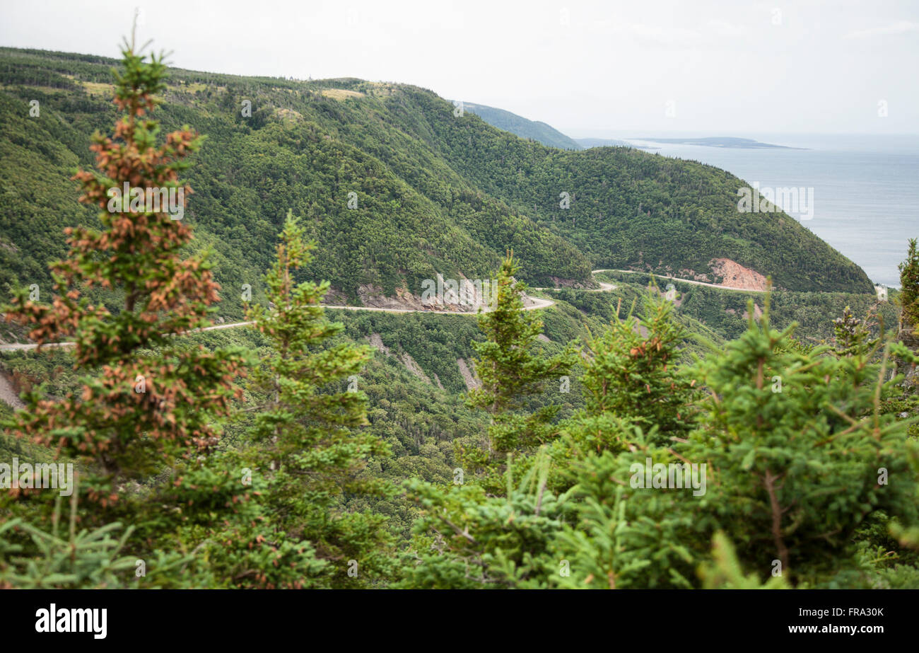 The Cabot Trail is a highway and scenic roadway in the Canadian province of Nova Scotia. It is located in northern - Stock Image
