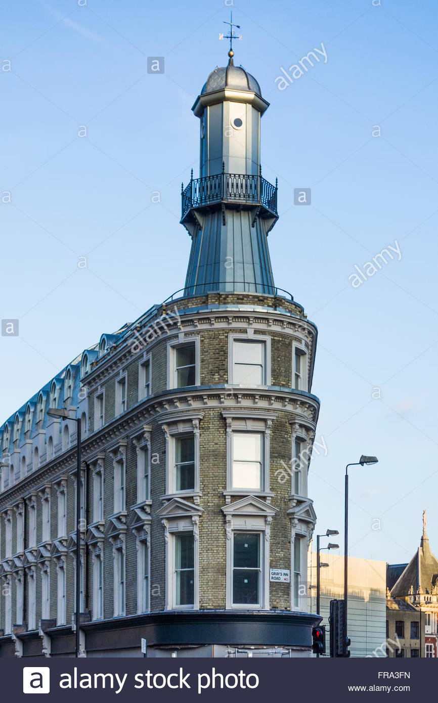 The distinctive lighthouse building at the corner of Grays Inn Road and Pentonville Road near to Kings Cross Station - Stock Image