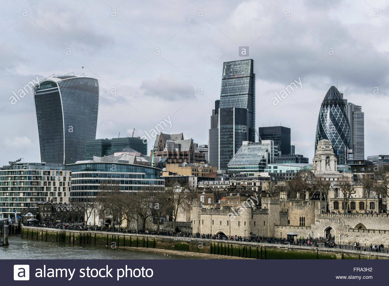 The London City skyline from Tower Bridge with the Walkie Talkie, The Cheesegrater and the Gherkin - Stock Image