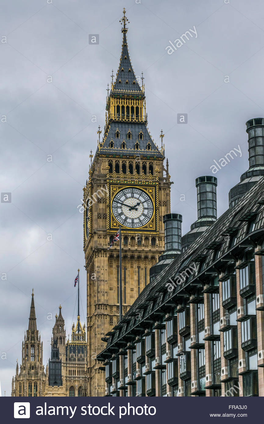 Big Ben at the Houses of Parliament, Westminster, and Portcullis House - Stock Image