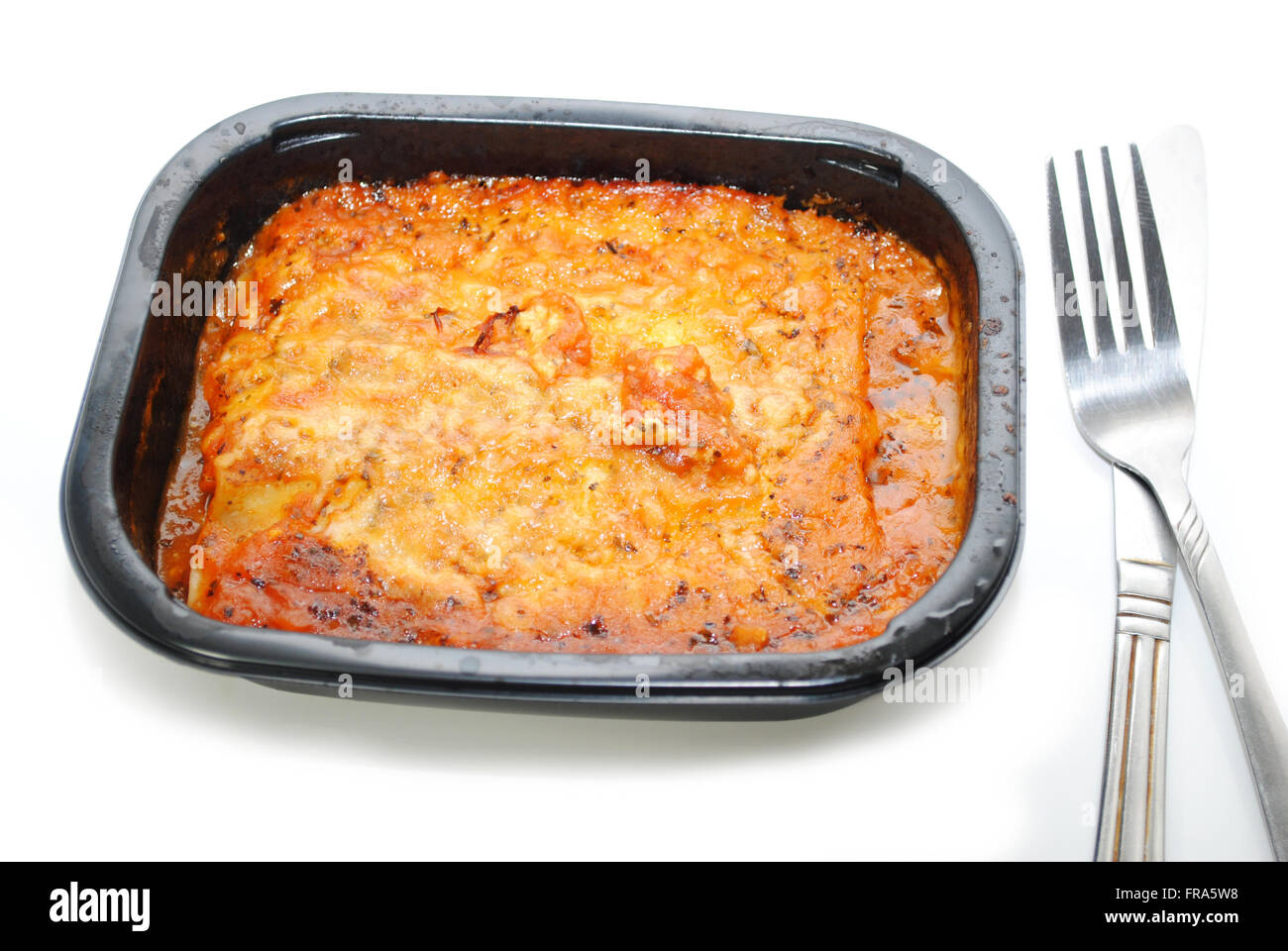 Take Out Pasta and Sauce Ready to be Eaten - Stock Image