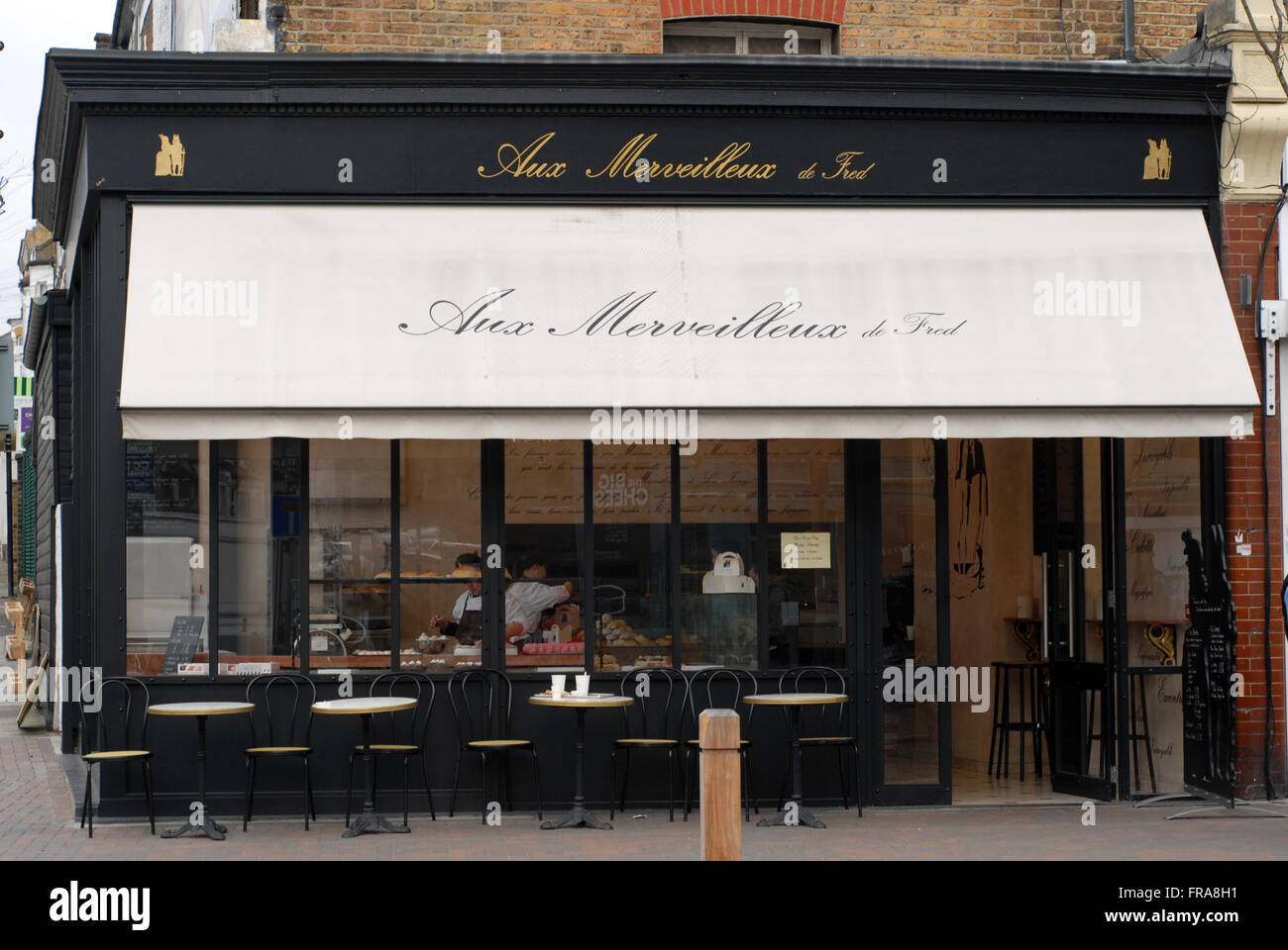 London, UK, 21 March 2016, Aux Merveilleux de Fred meringue patisserie  in Northcote Road Battersea SW11 Stock Photo