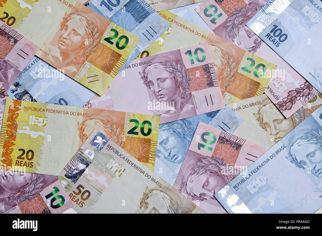 Front of the second ballots of the Royal family - the currency of Brazil - with different sizes - Stock Image
