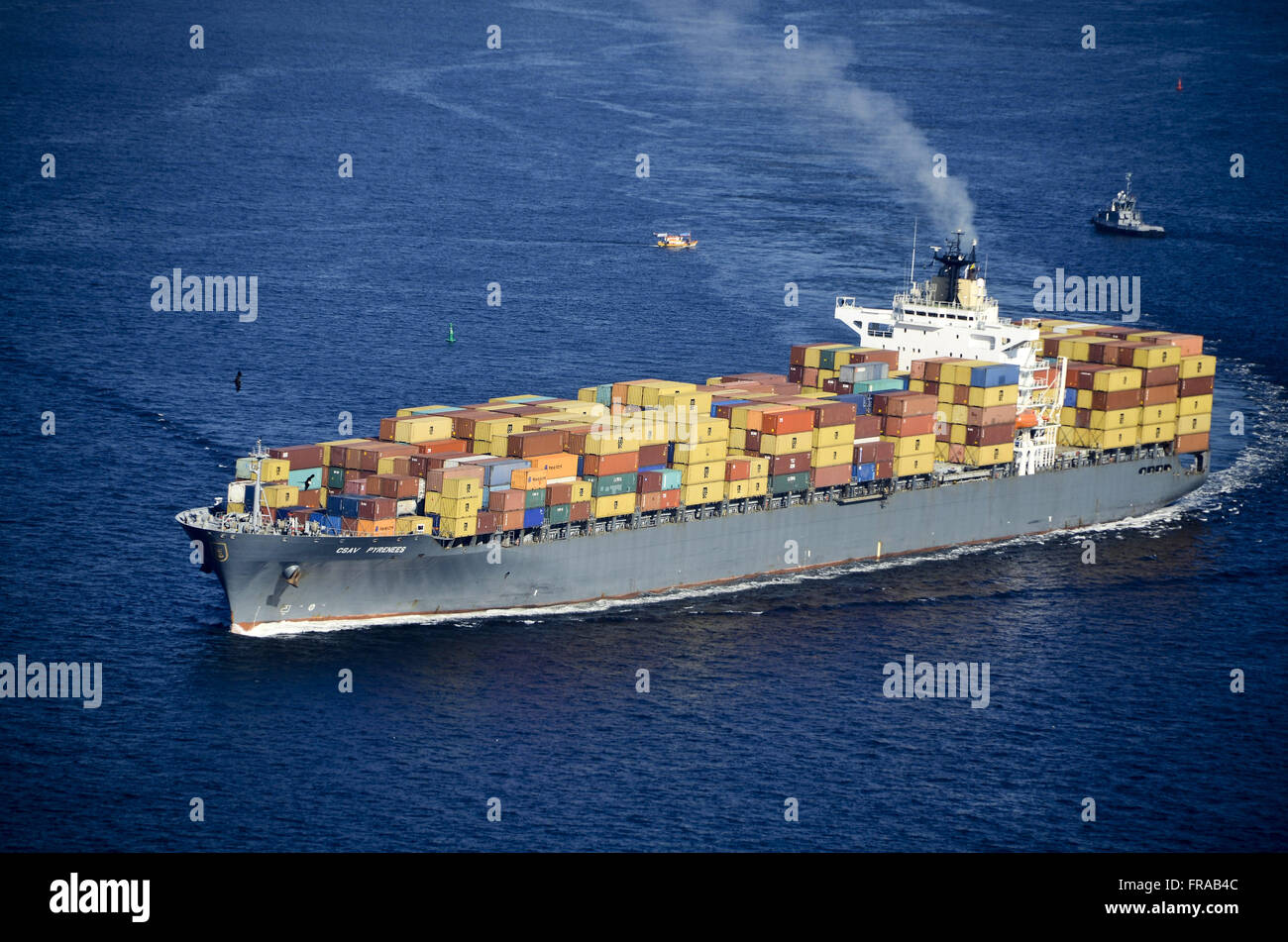 Aerial view of cargo ship in the Bay of Guanabara - Stock Image