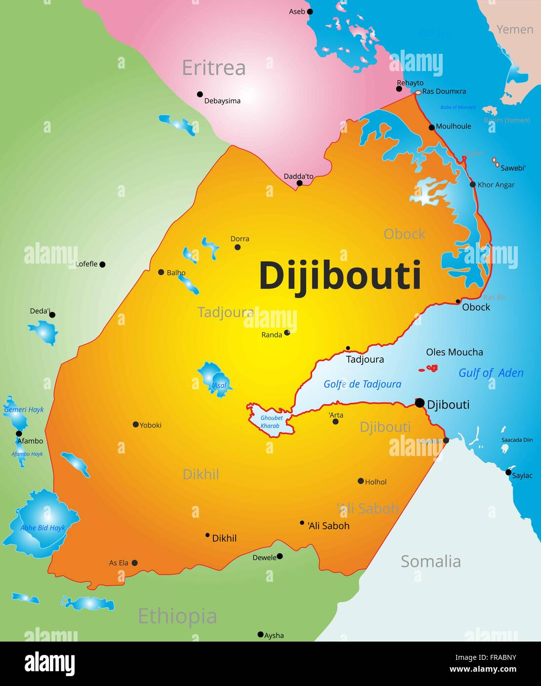 vector color map of Djibouti - Stock Vector