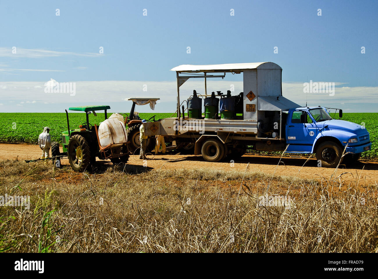 Agricultural machinery for soybean harvest in the countryside - Stock Image