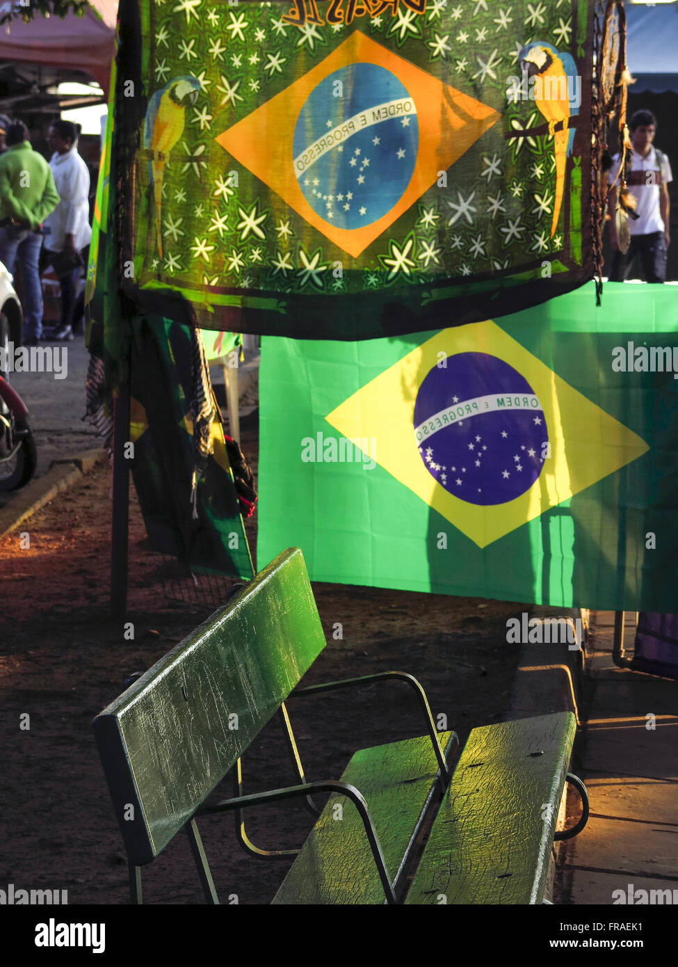 Trade flags of Brazil - stand for World Cup 2014 - Stock Image