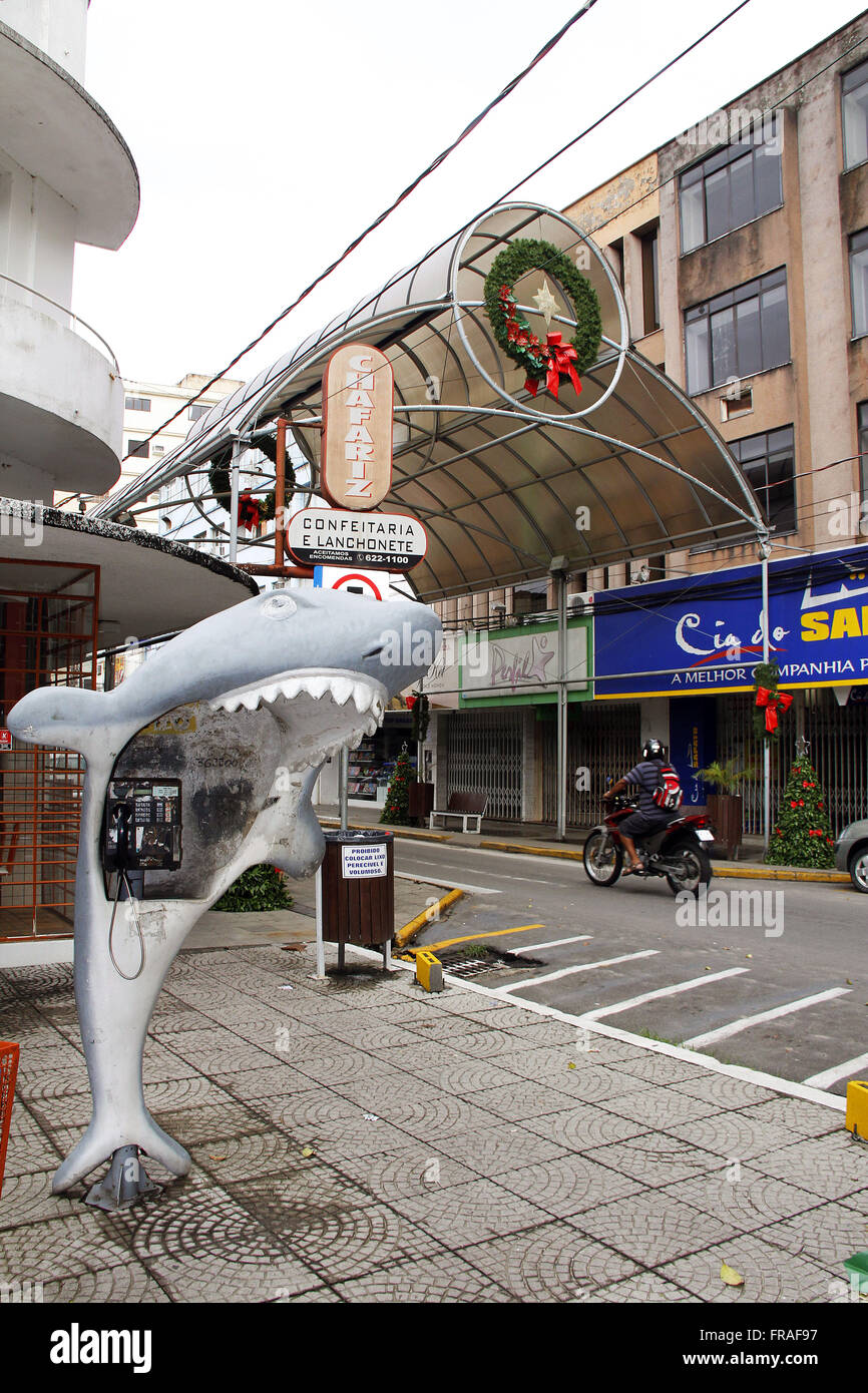 Payphone in format shark shark in the city center - SC - Stock Image