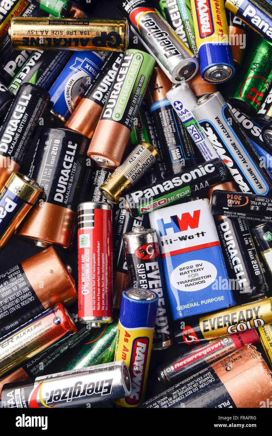 Batteries for recycling - Stock Image