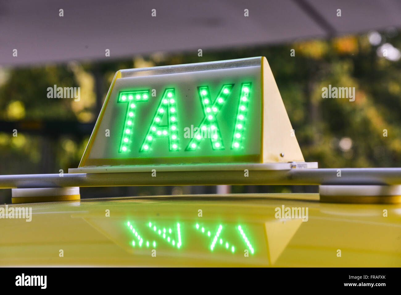 Detail of the sign LED electric taxi - Stock Image