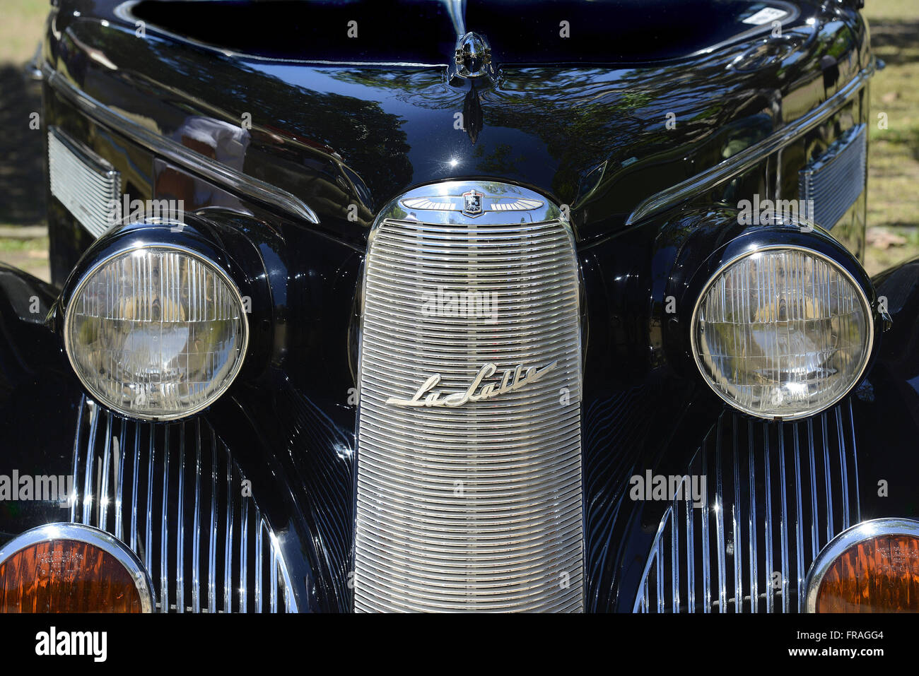 Front Detail of La Salle exposed in fair vintage cars in Flamengo - Brand marketed - Stock Image