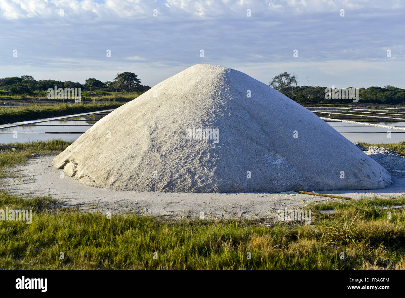Lot of salt in the salt drying on Red Lake Stock Photo