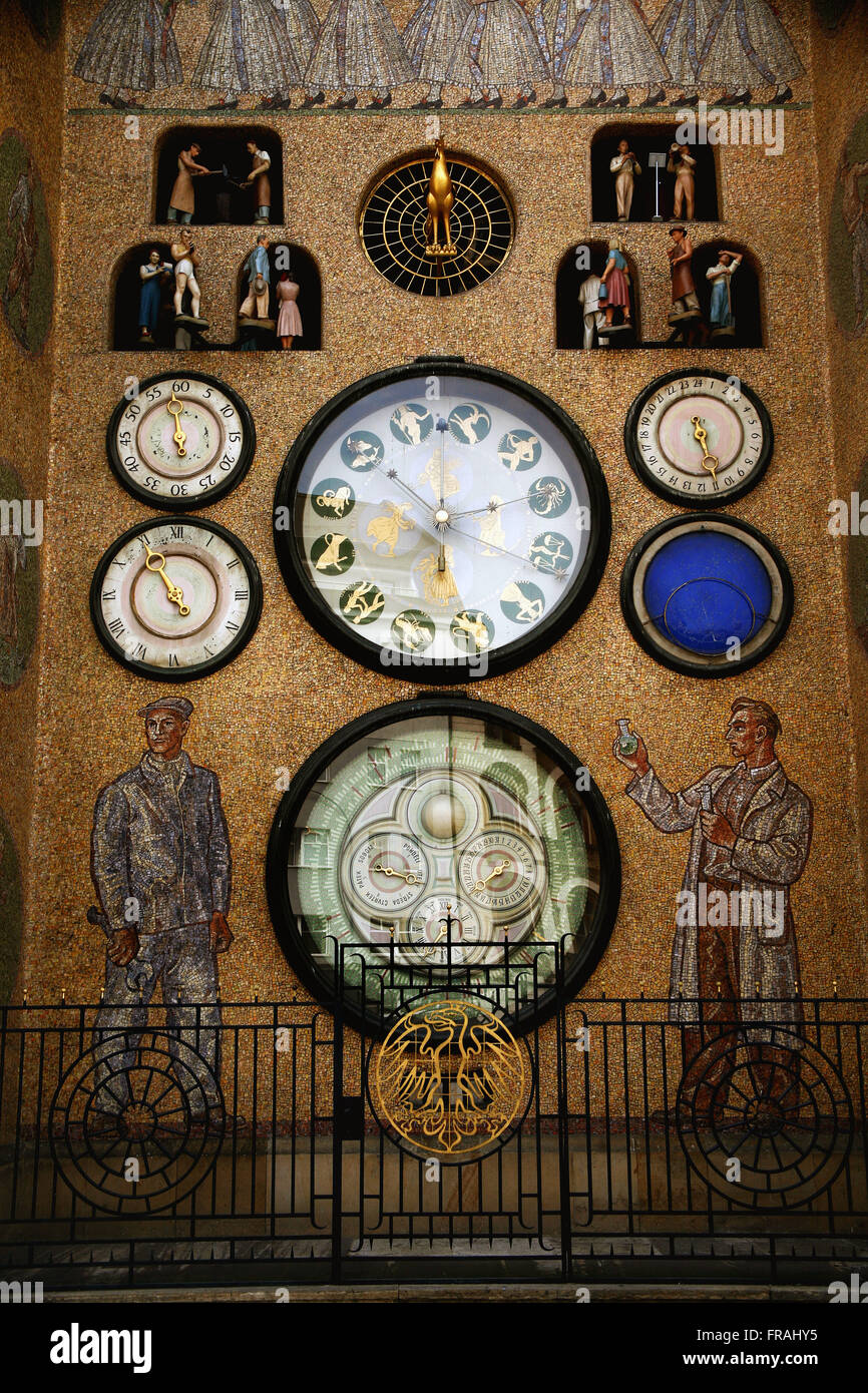 Astronomical Clock in Old Town Square of Prague - Stock Image