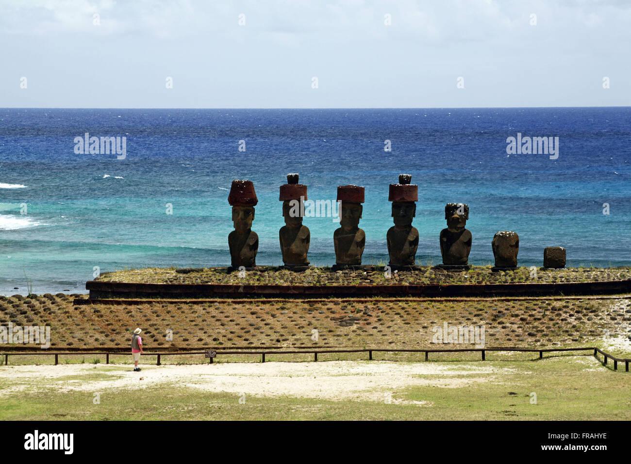 Seven Moai Ahu Nau Nau at Anakena Beach - Easter Island - Stock Image