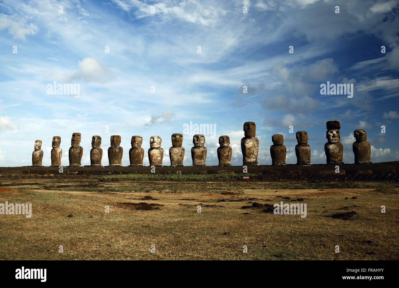 Ahu Tongariki - 15 Moai on Easter Island - Stock Image