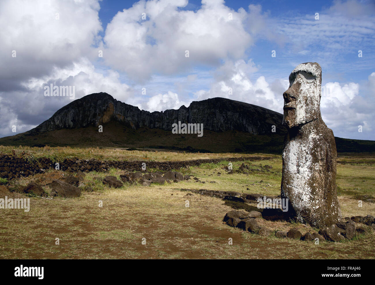 Detail of Moai on Easter Island - the volcano background - Stock Image