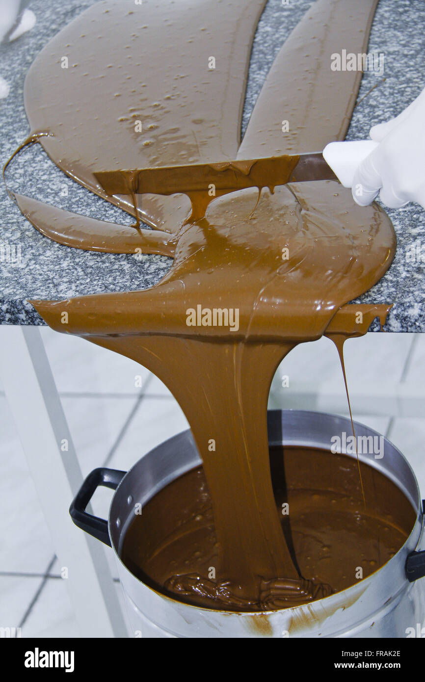 Artisanal production of chocolates - chocolate ready to use after tempering process Stock Photo