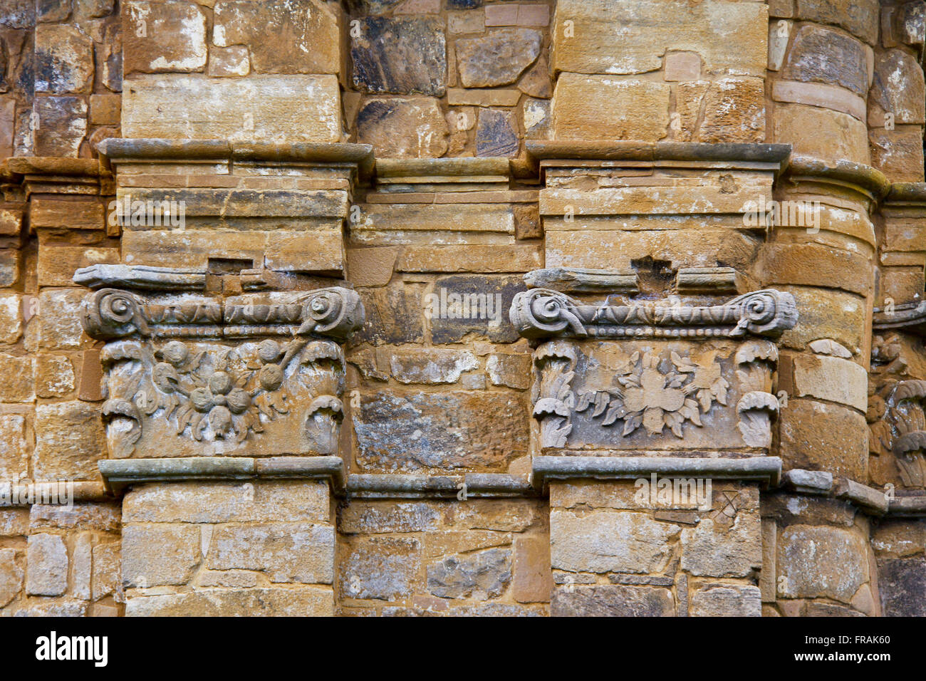 Detail from the ruins at the archaeological site of the Church of Sao Miguel Arcanjo - construction 1735 - Stock Image