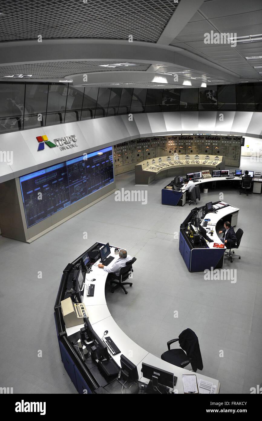 Room Central Command Itaipu dam - Itaipu Binational - Stock Image