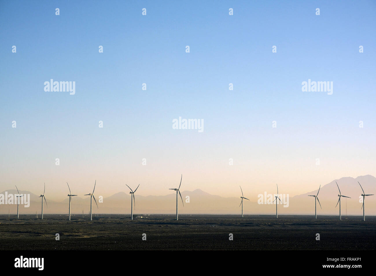 Wind power park located on the road Ruta 23 - Stock Image