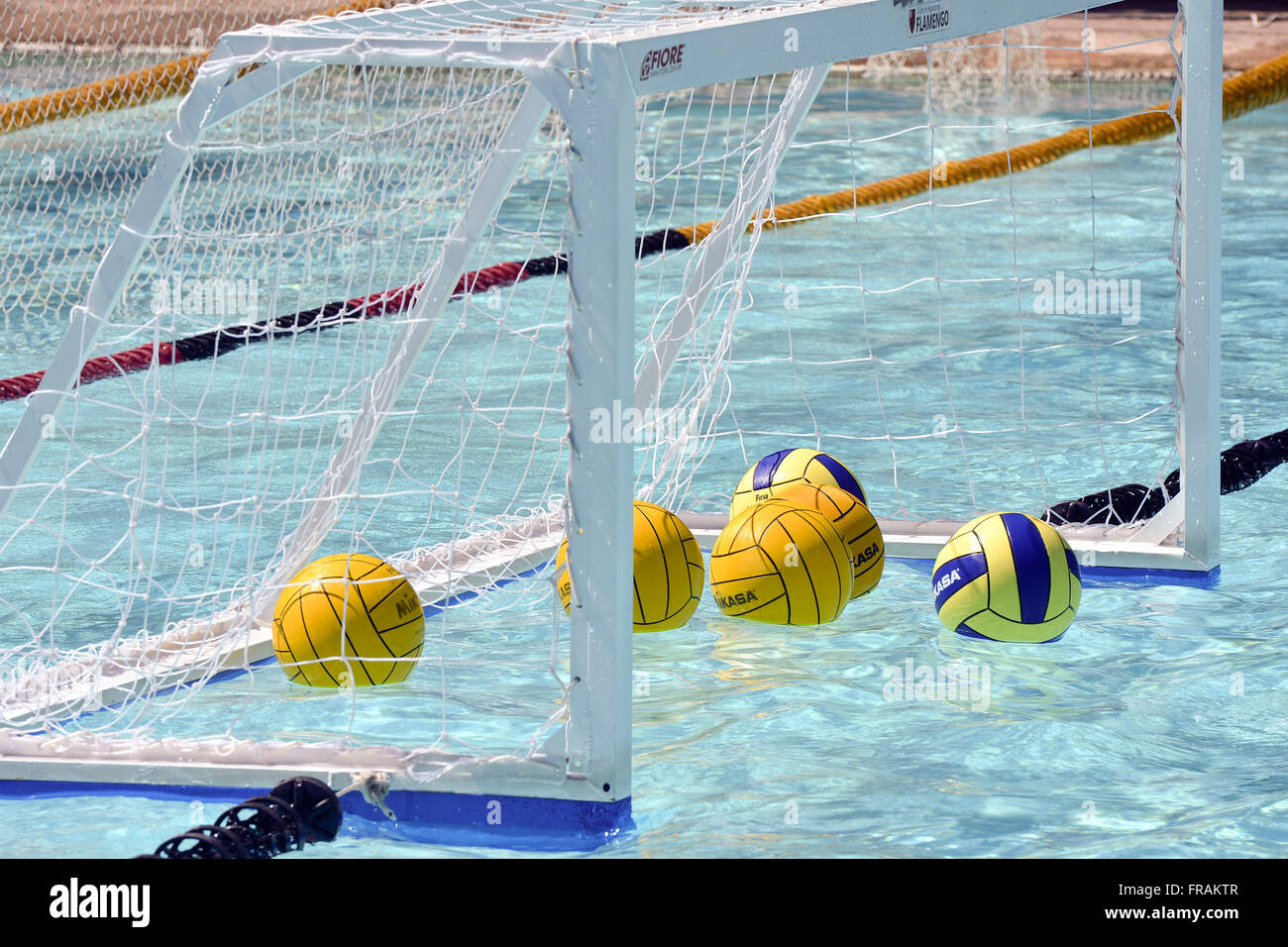 Water polo balls into the goal - Stock Image