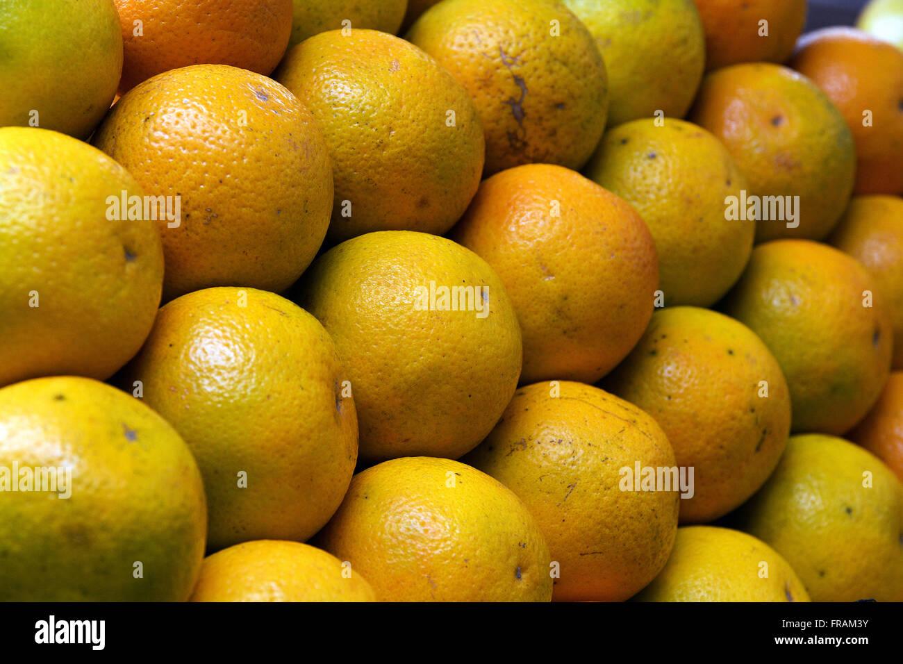 Laranjas-pera à venda em feira livre do bairro do Flamengo - Stock Image