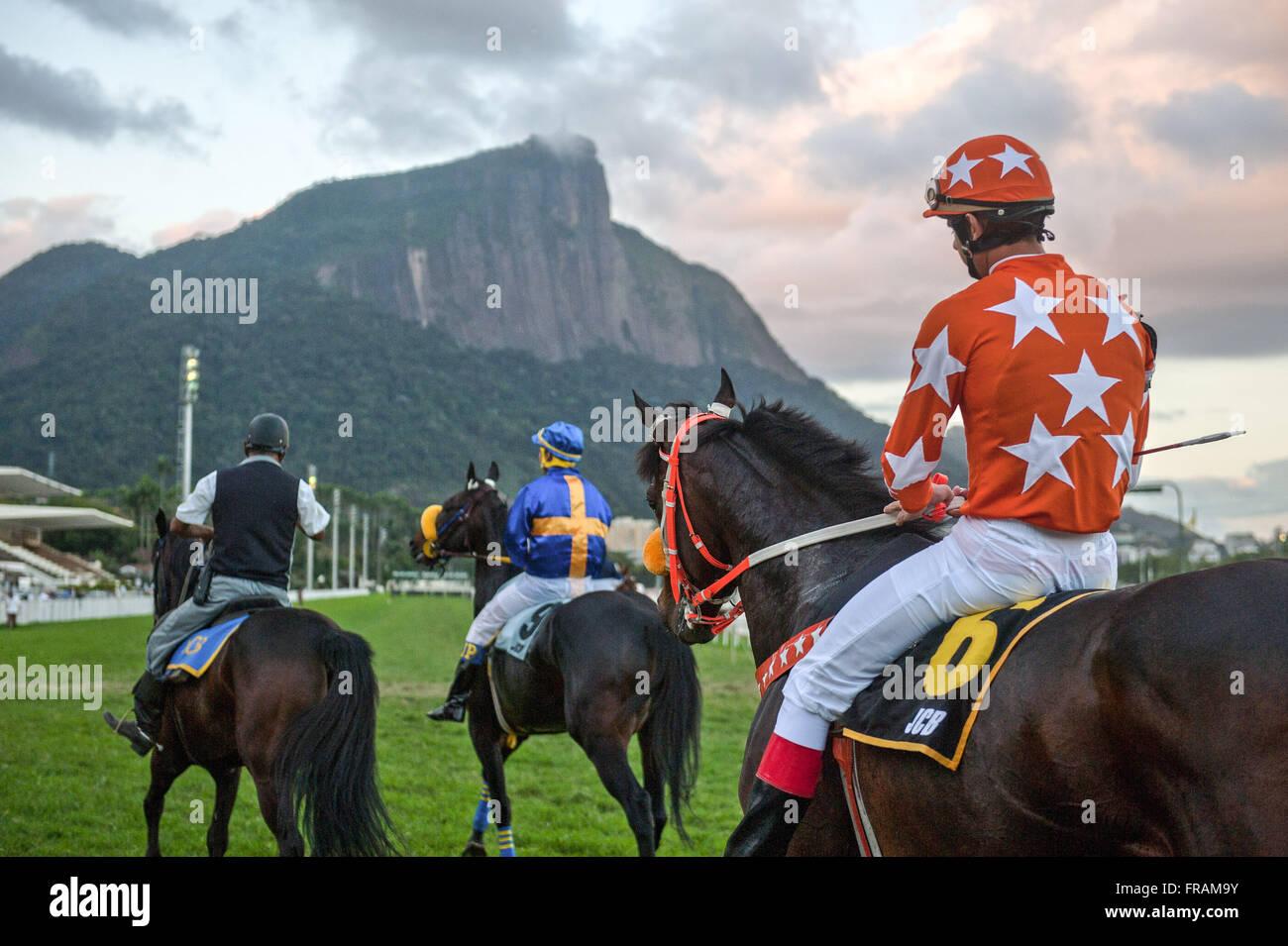 Horse Racing in Brazilian Jockey Club - Stock Image