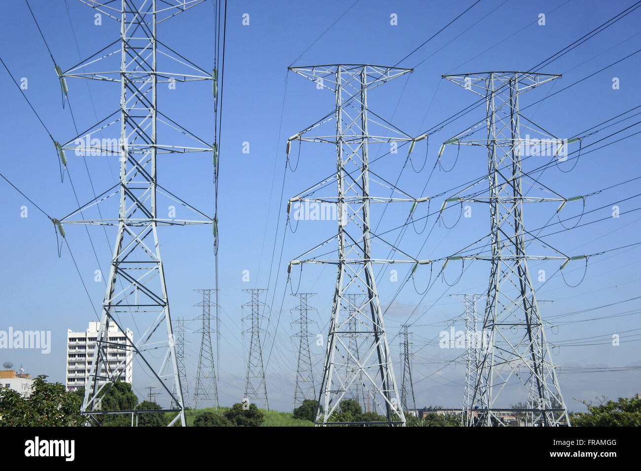 Towers transmission of energy in railway Madureira - Stock Image