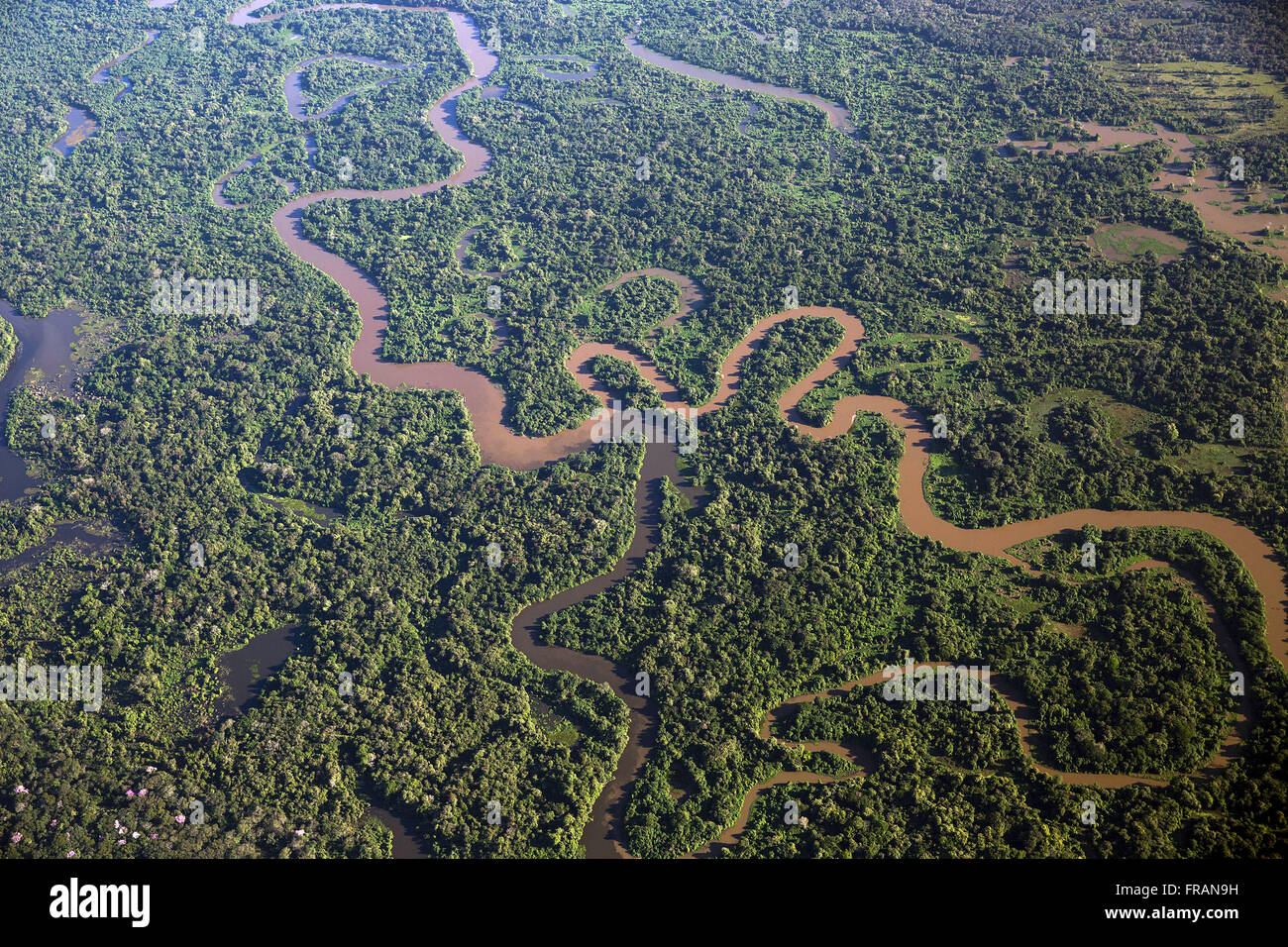 Aerial view of the meeting between the Rio Paraguay and Rio Sepotuba - Stock Image