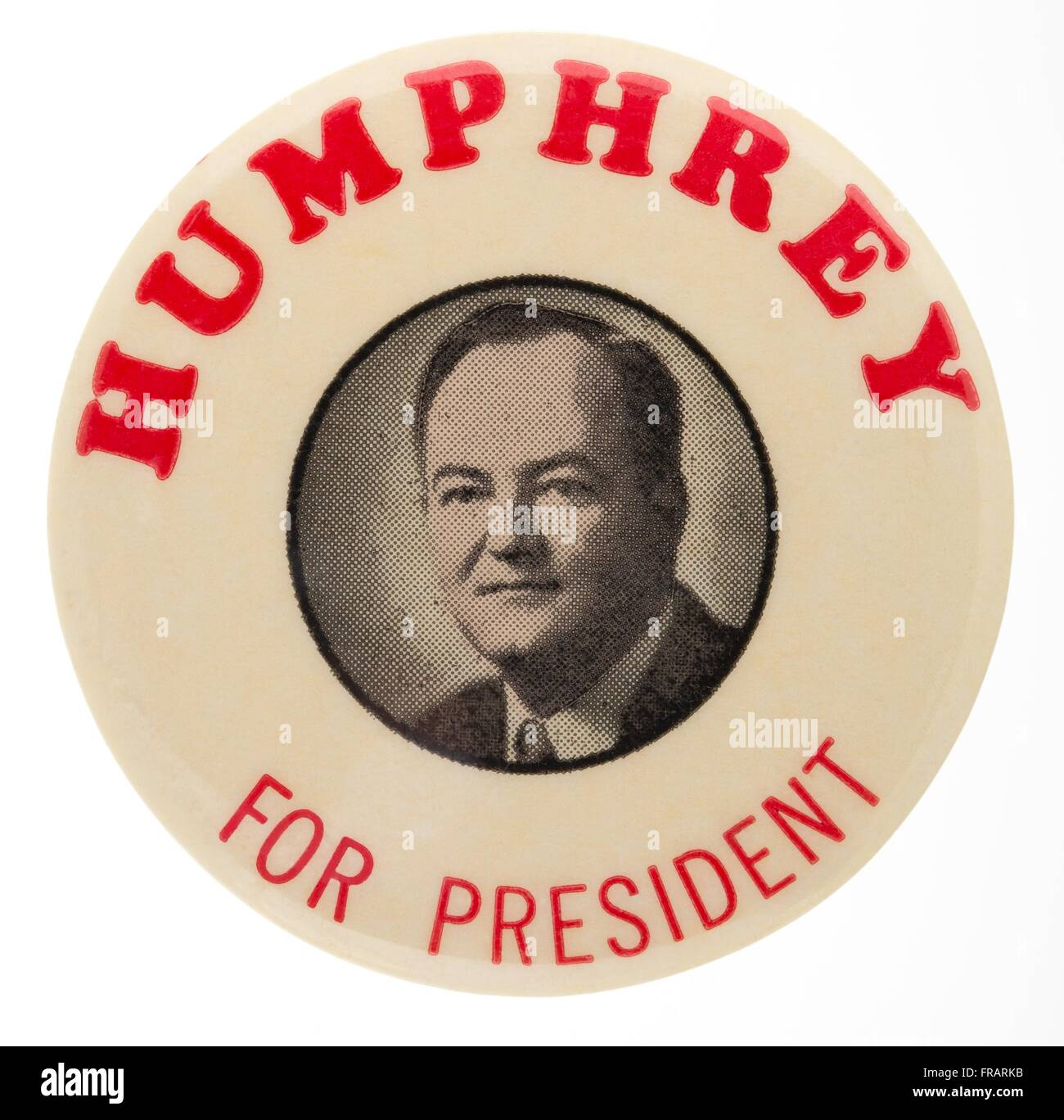 A 1960 Hubert H. Humphrey pin back button badge used during the democratic nomination for United States President - Stock Image