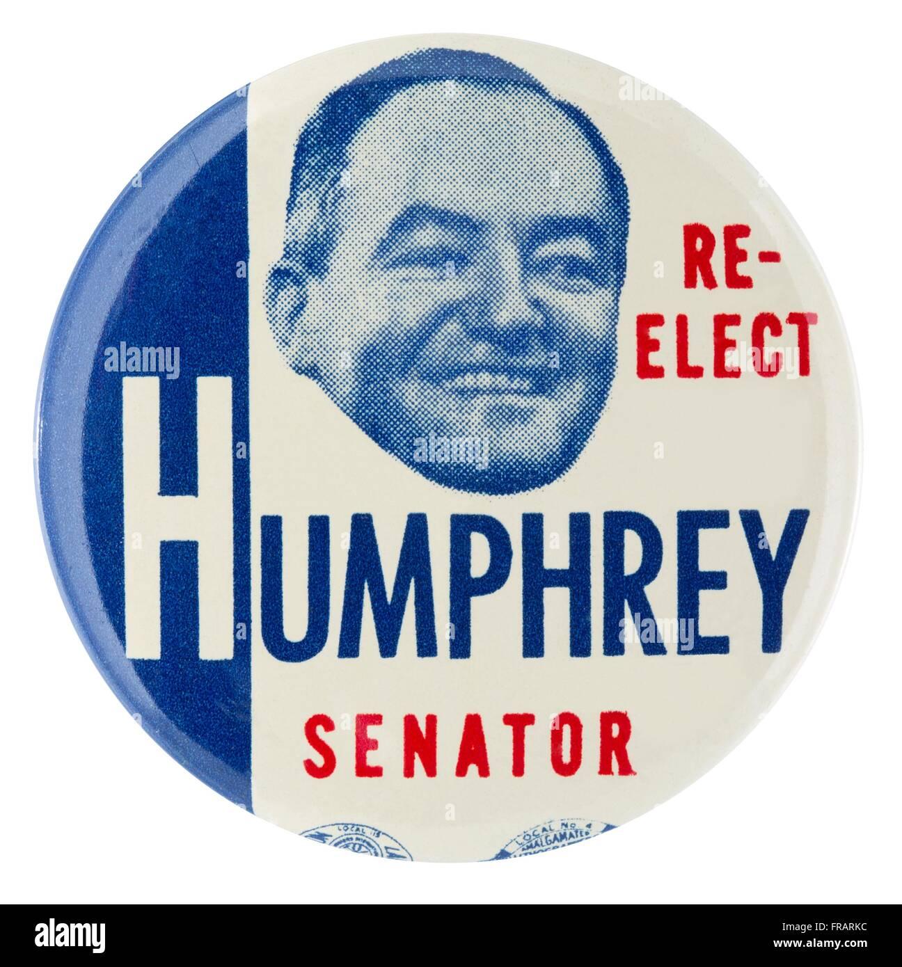 1954 Re-Elect Hubert H. Humphrey Senator Pinback Button - Stock Image