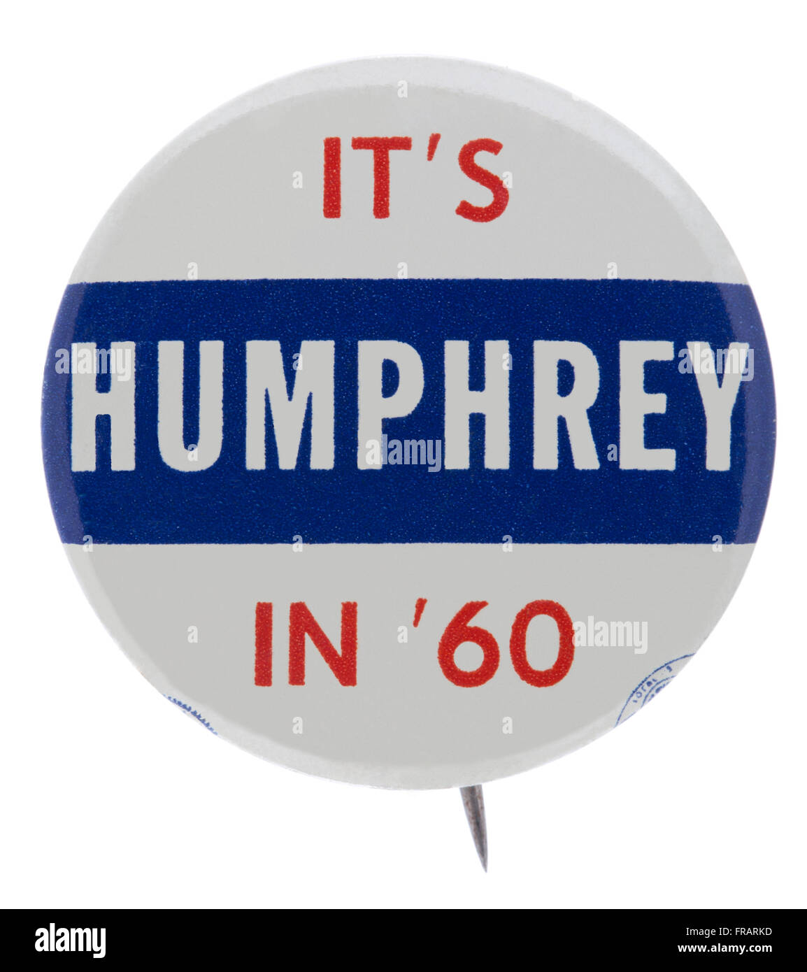 A 1960 Hubert H. Humphrey pin back button badge used during the democratic nomination process for the office of - Stock Image