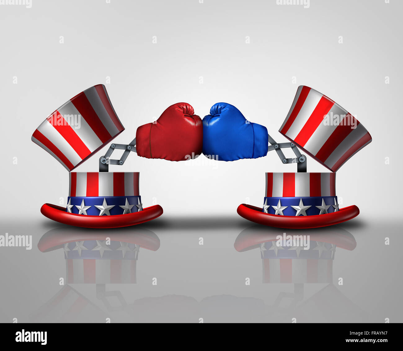 American election fight and political violence concept for campaigning for votes as an open uncle Sam top hat decorated - Stock Image
