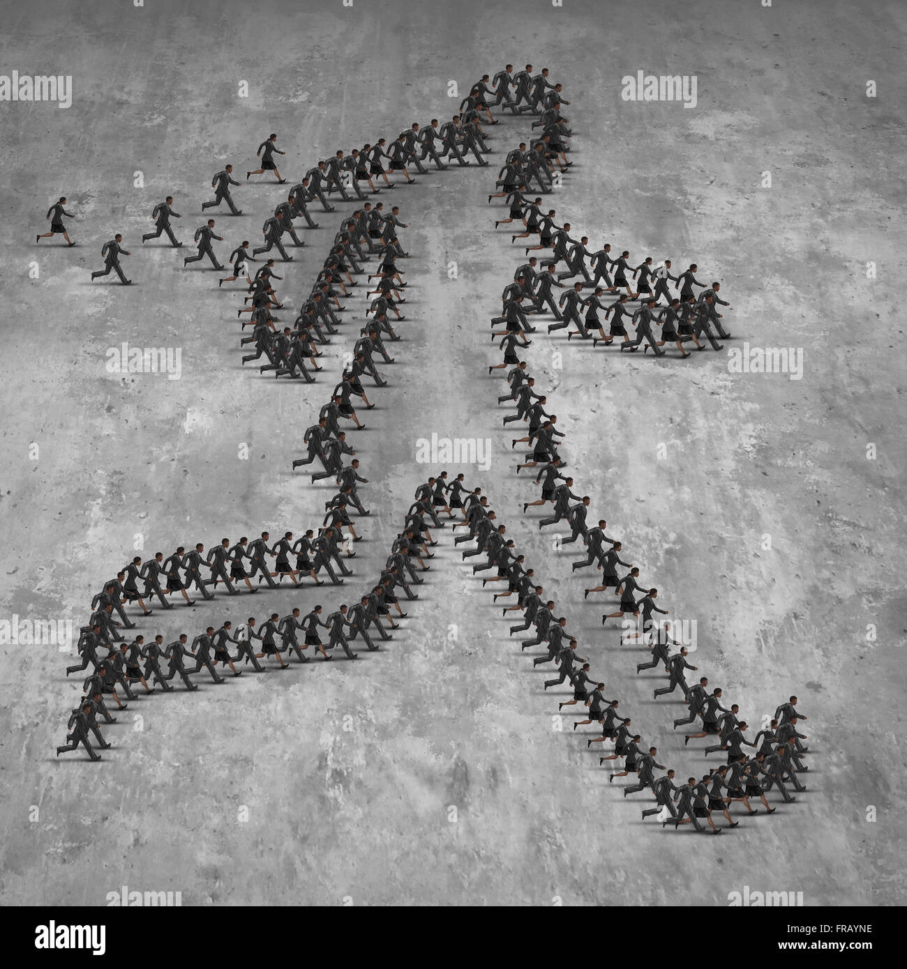 Business people group move concept as a team of businessmen and businesswomen running together forming an organised - Stock Image