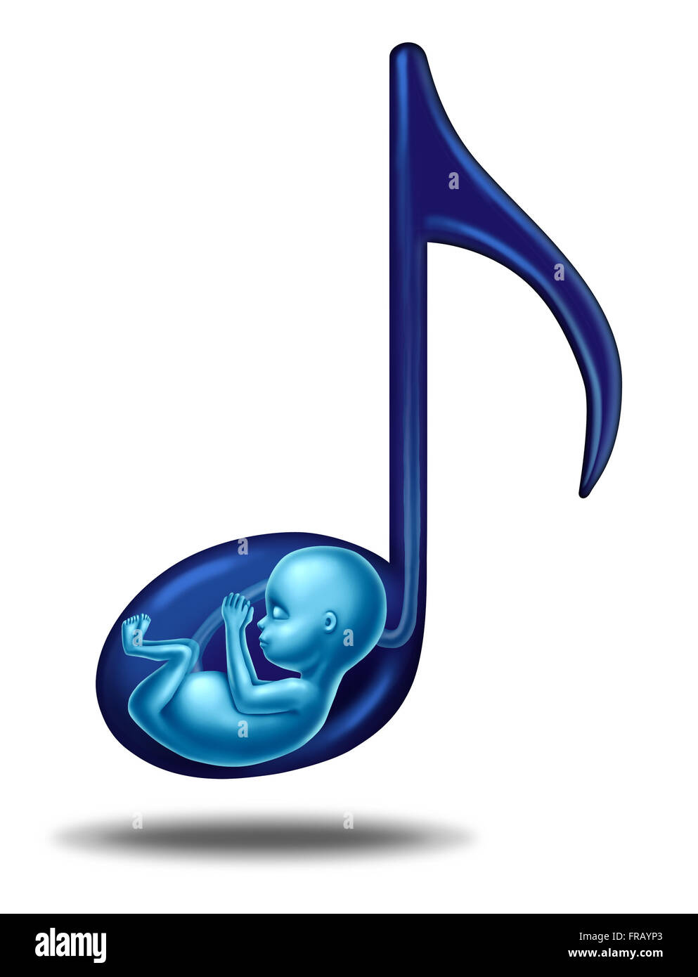 Pregnancy music and prenatal hearing songs concept for a fetus that is in the womb of an epecting mother as a maternity - Stock Image