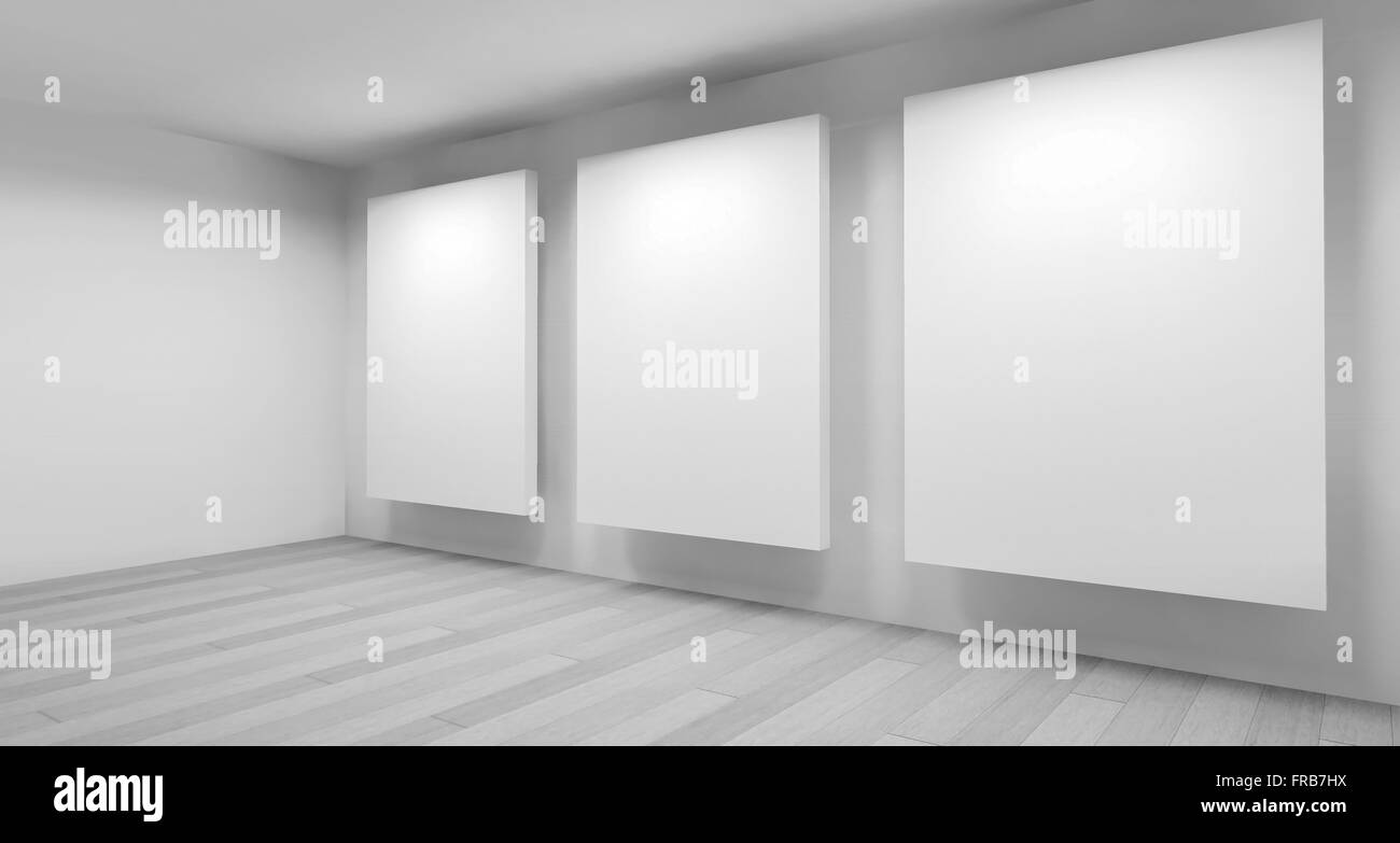 clean art gallery space with blank frames on the wall, clean room ...