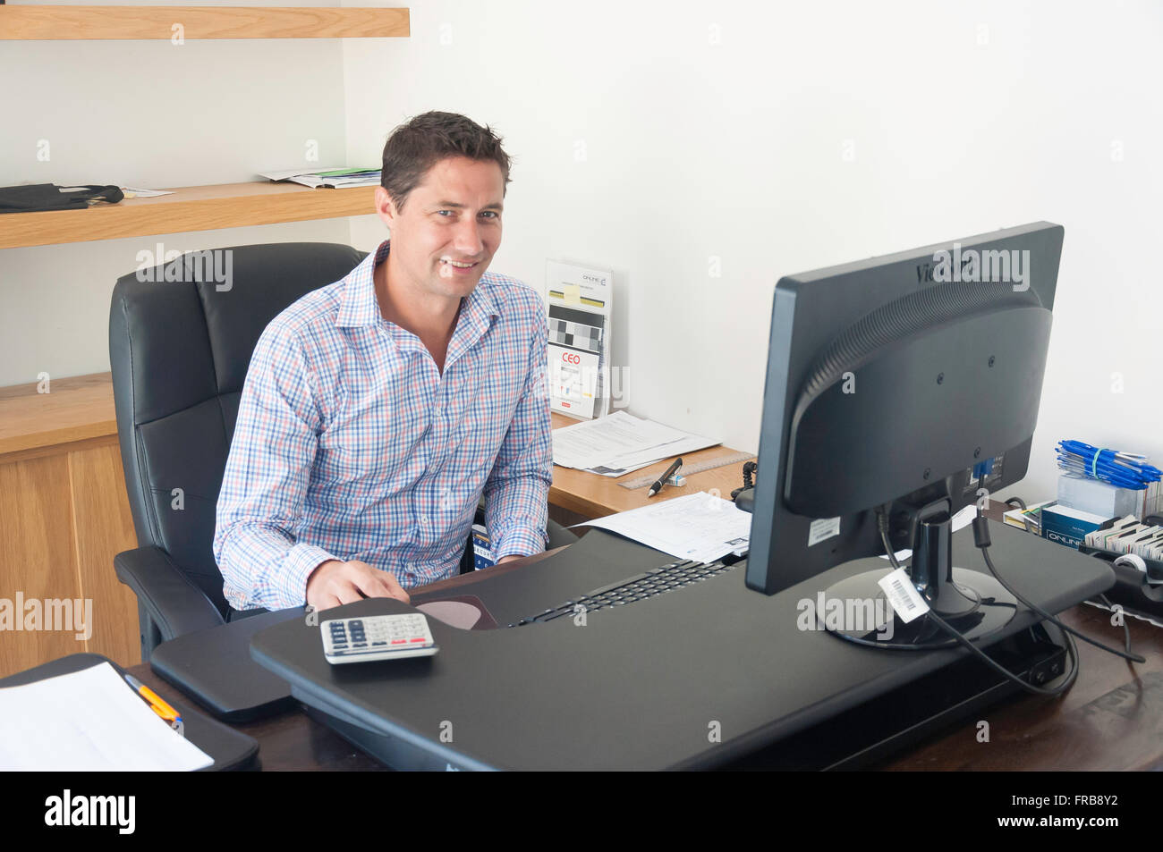 Young executive male (30's) at office desk, Christchurch, Canterbury Province, New Zealand - Stock Image