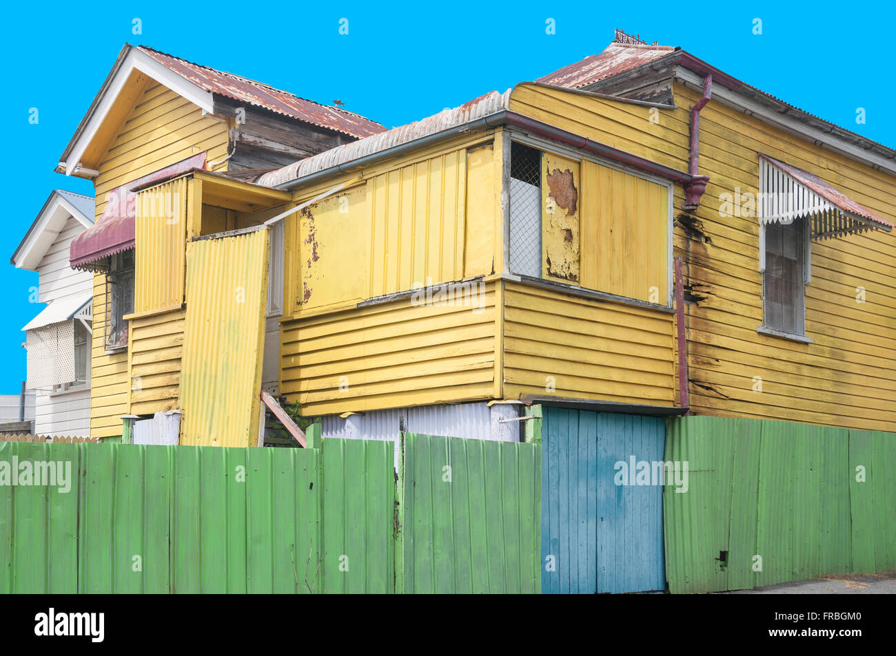 Colourful weatherboard house, Caxton Street, Paddington, Brisbane, Queensland, Australia - Stock Image