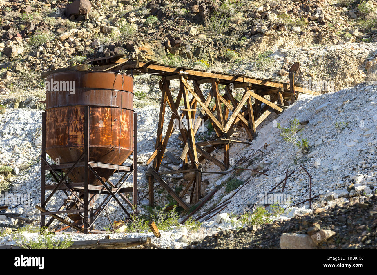 Grantham Talc Mine site in Warm Springs Canyon, Death Valley National Park. - Stock Image