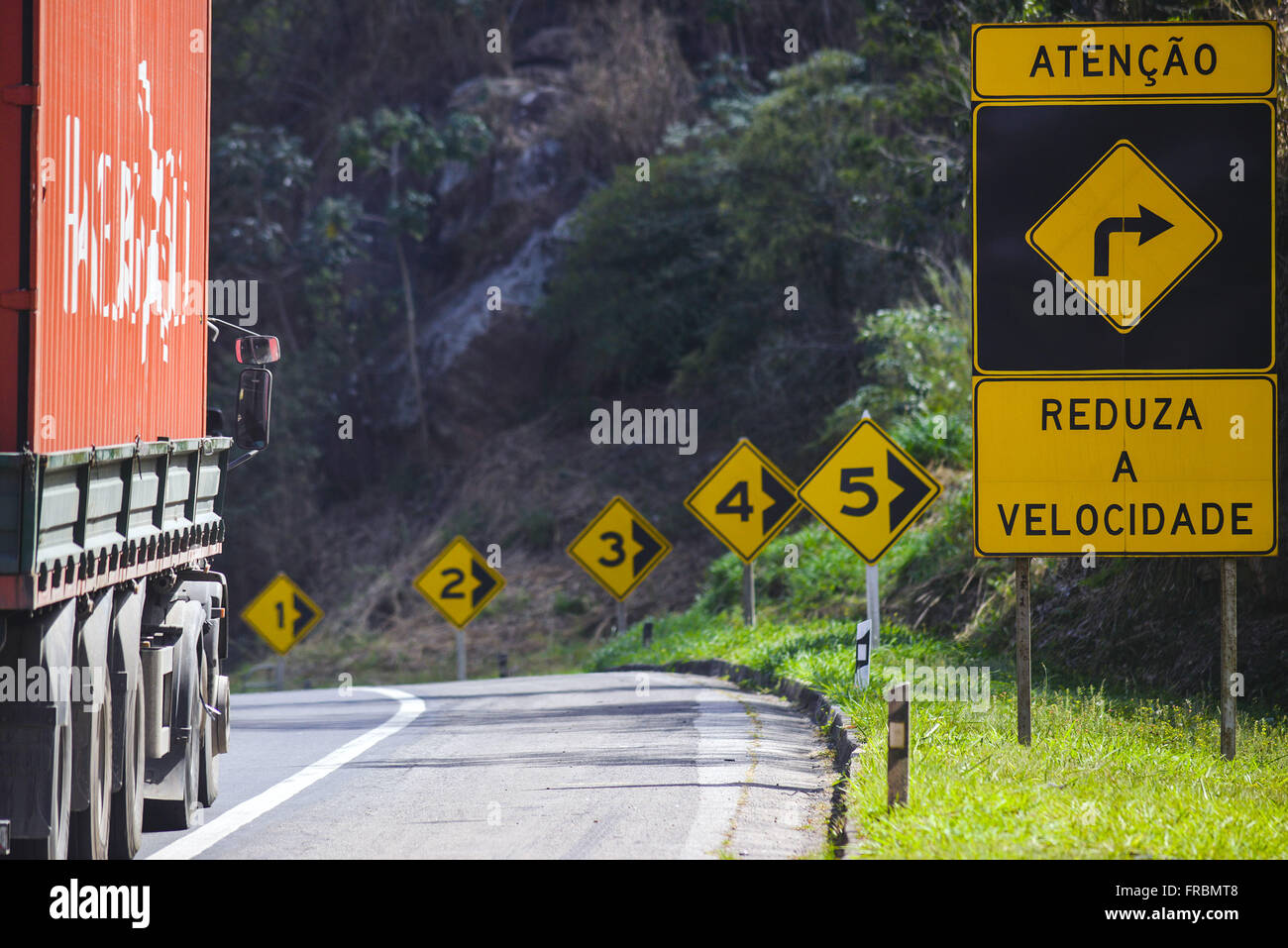 BR-040 Washington Luiz Highway with signs of reduction of signaling speed - Stock Image