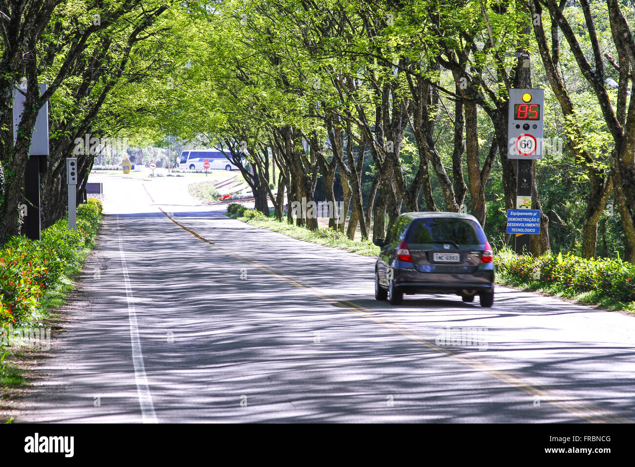 Electronic detection of radar speed access route to city - Stock Image