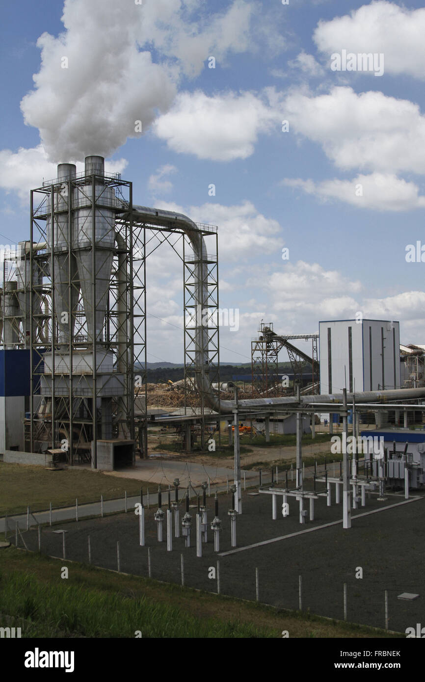 Electricity substation Industries of cellulose - Stock Image