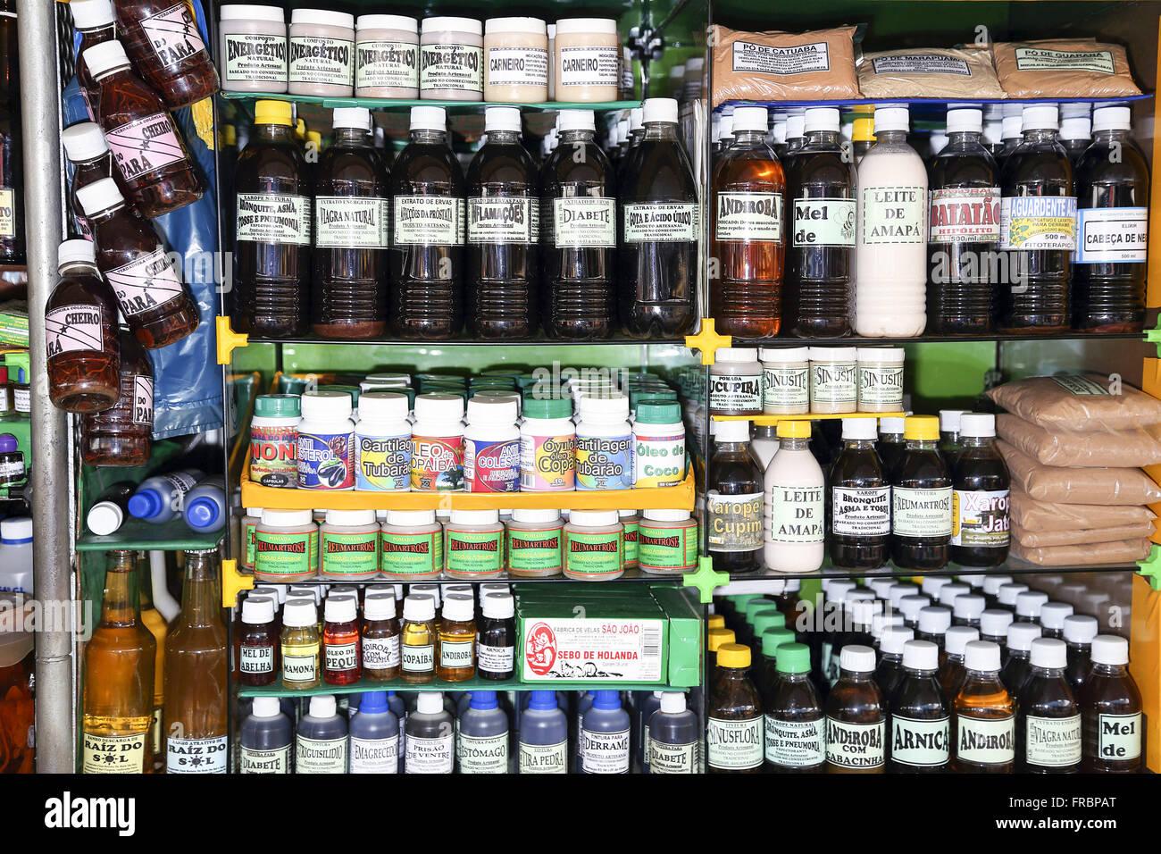 Handmade medicines on sale in Ver-O-Peso - Stock Image