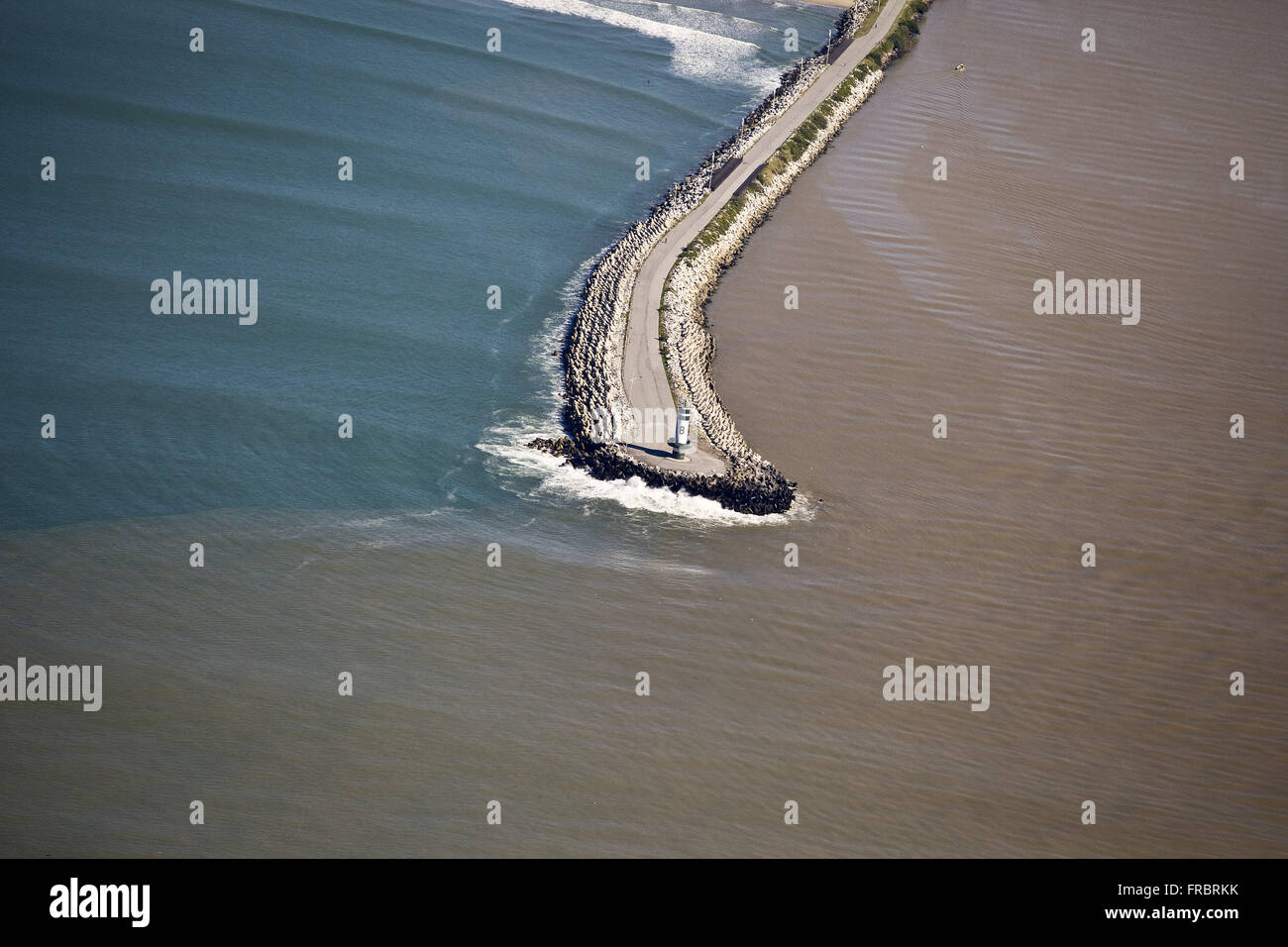 Aerial view of the breakwater at the mouth of the Itajai-Acu River - Stock Image
