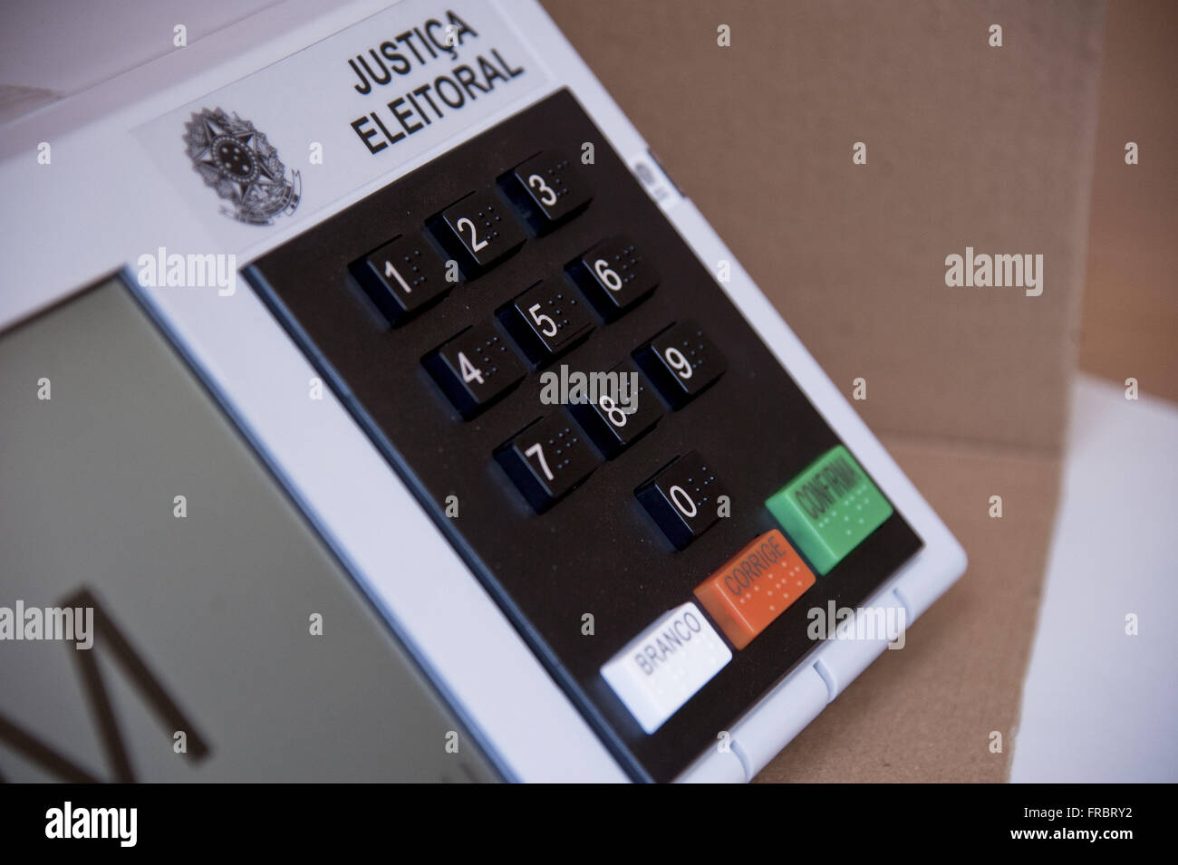 Electronic ballot - voter terminal with numeric keypad and braille - Stock Image