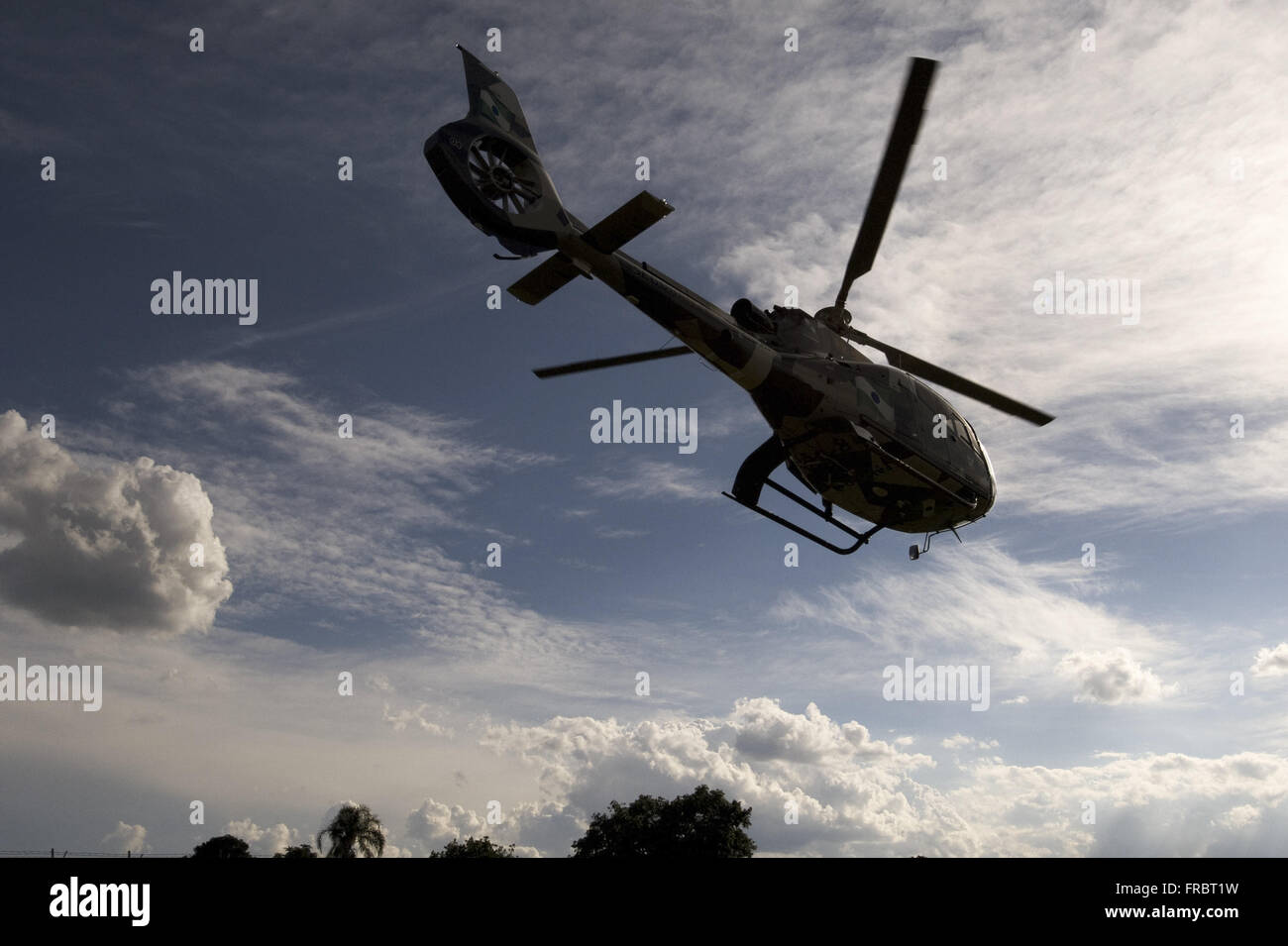 Police aboard the helicopter GRAER Grouping Aereo military police of Parana - Stock Image