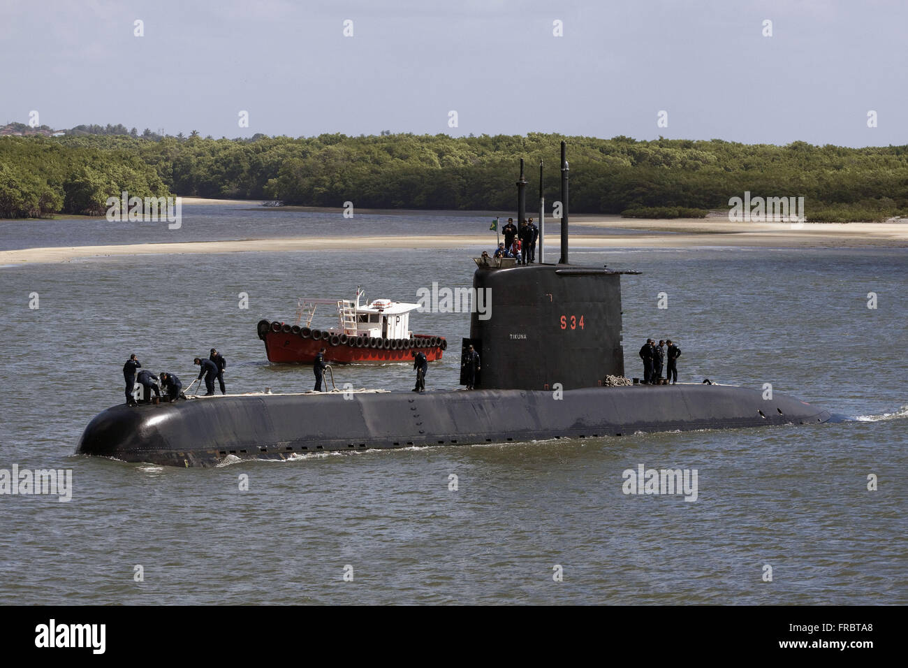 Submarine S-34 Tikuna arriving at the naval base - Command 3Ã, Â º Naval District - Stock Image