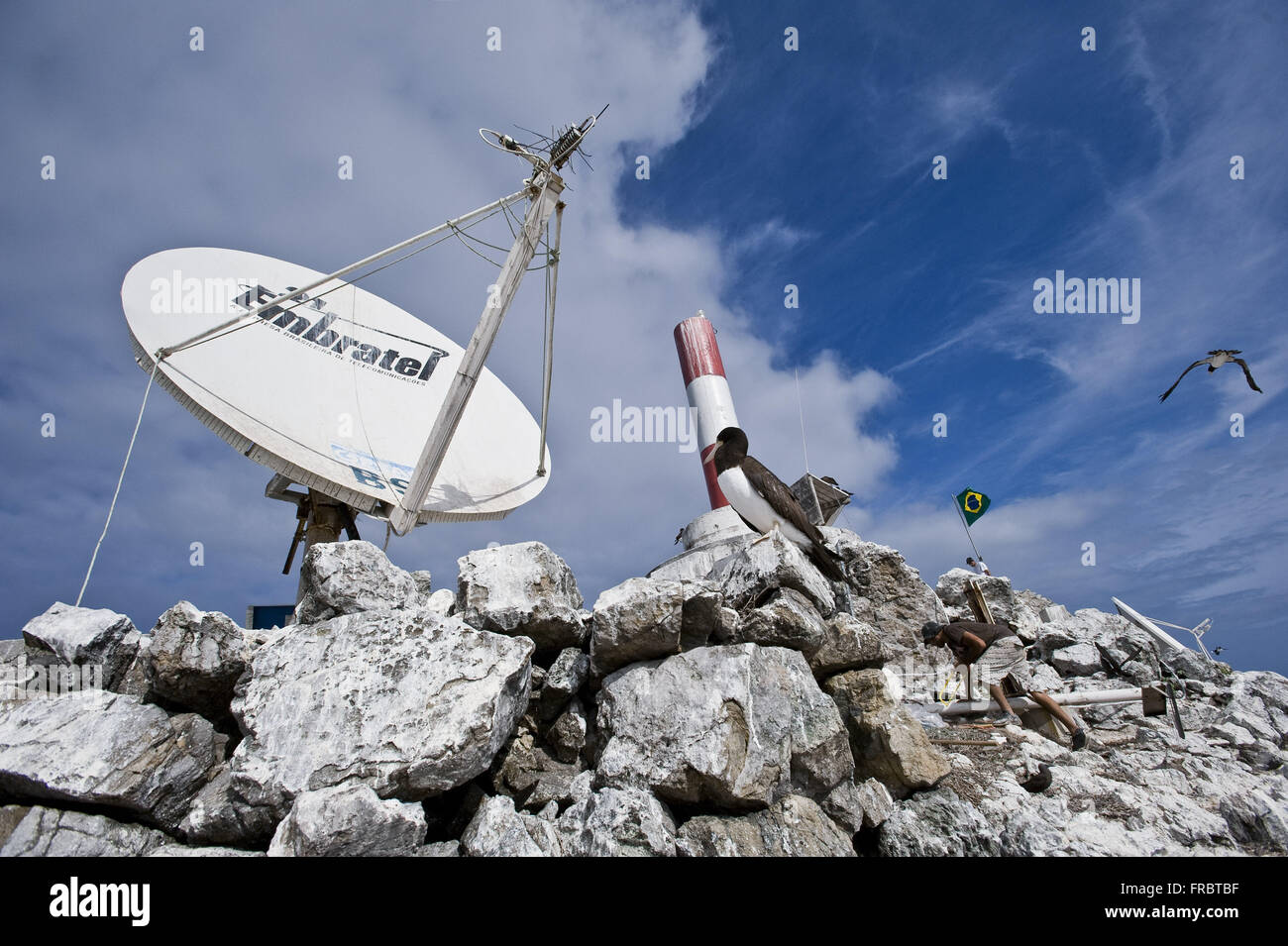 Telecommunications antenna in the Brazilian railway Scientific Belmonte Island - Stock Image