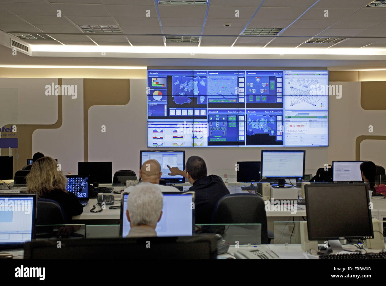 Center operations in telecommunications network operator - Stock Image