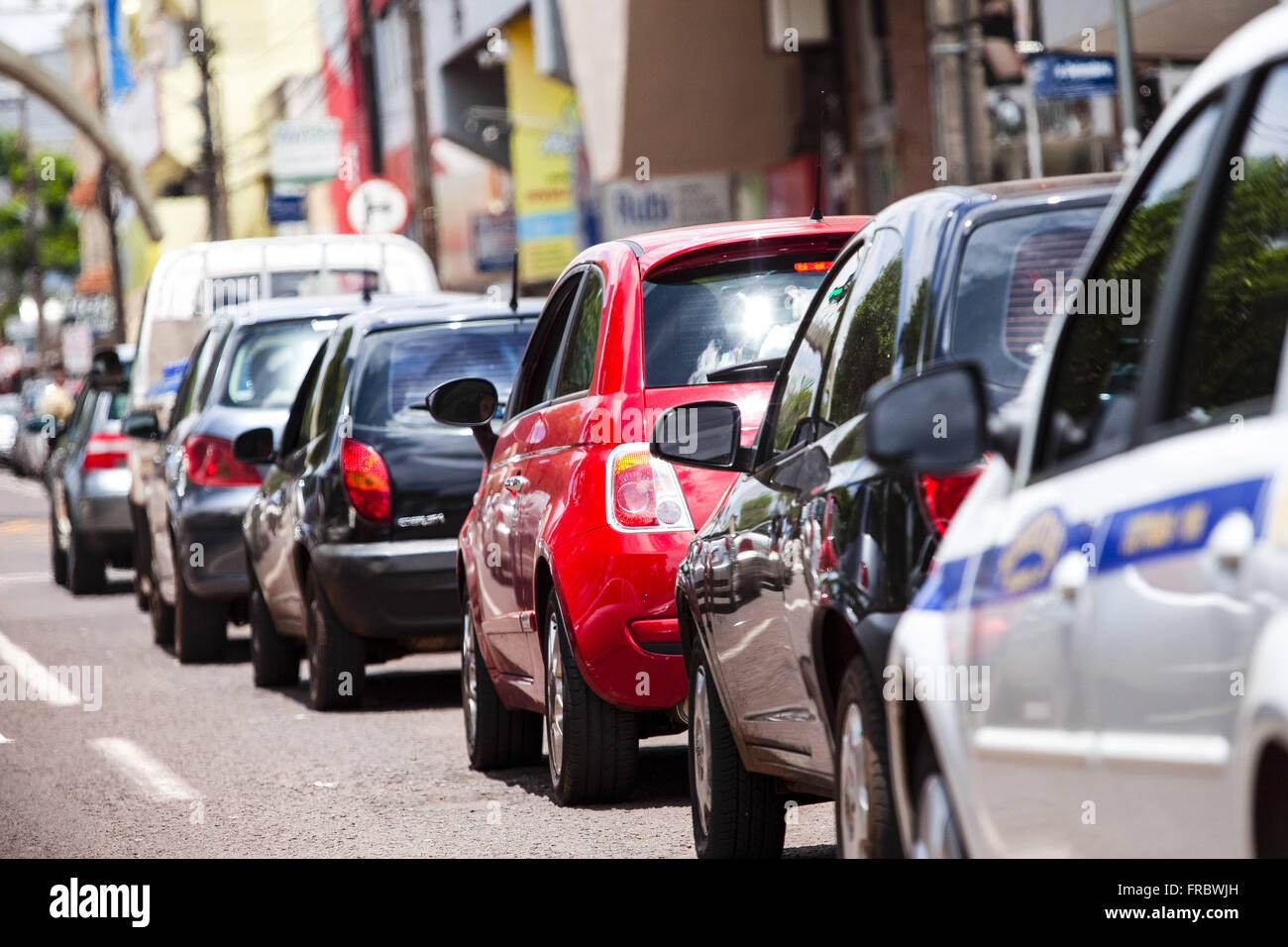 Row of cars in traffic on Commercial Street in the city center - Stock Photo
